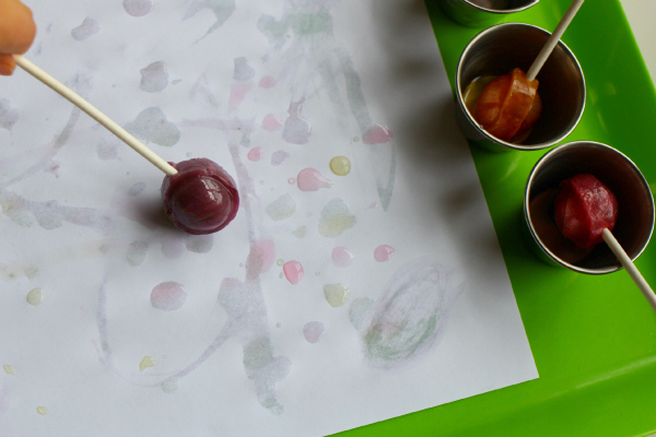 painting with candy after halloween no time for flash cards