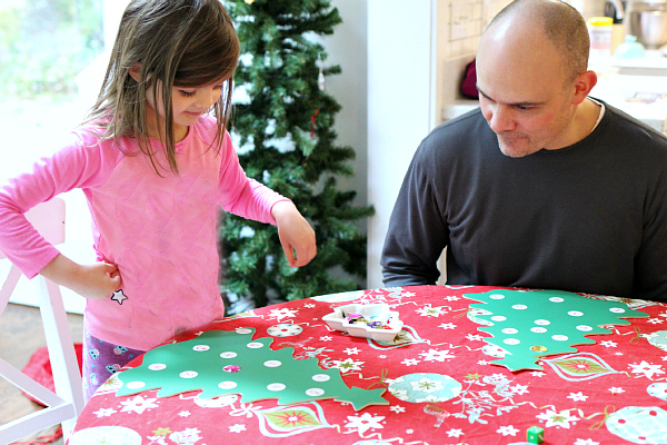 playing christmas tree math game for preschool