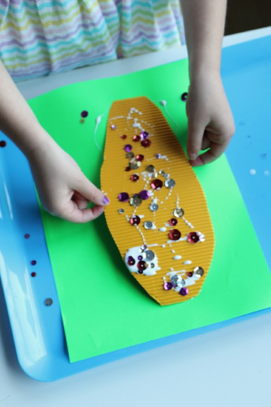 sequin indian corn craft for kids