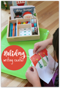 'Writing center idea for december with christmas cards' from the web at 'https://www.notimeforflashcards.com/wp-content/uploads/2015/12/Writing-center-idea-for-december-with-christmas-cards--204x302.png'