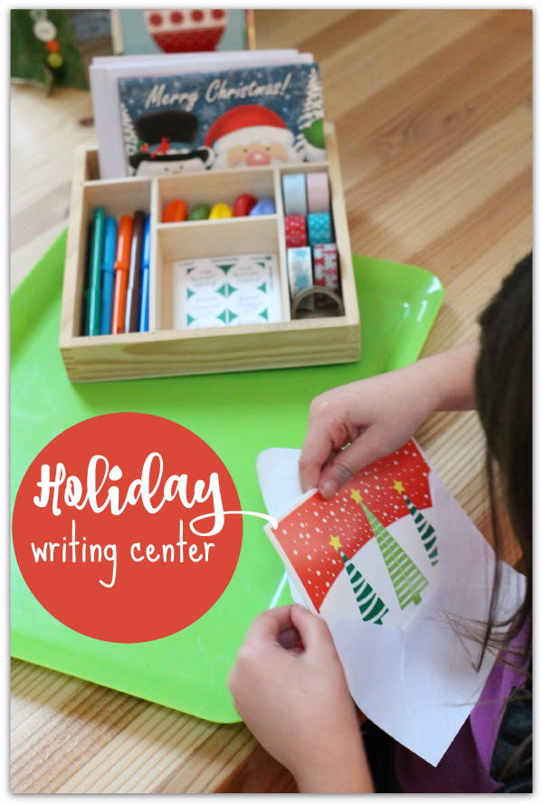 Writing center idea for december with christmas cards
