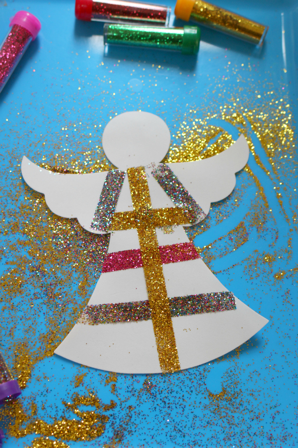 glittery angel easy christmas craft no time for flash cards