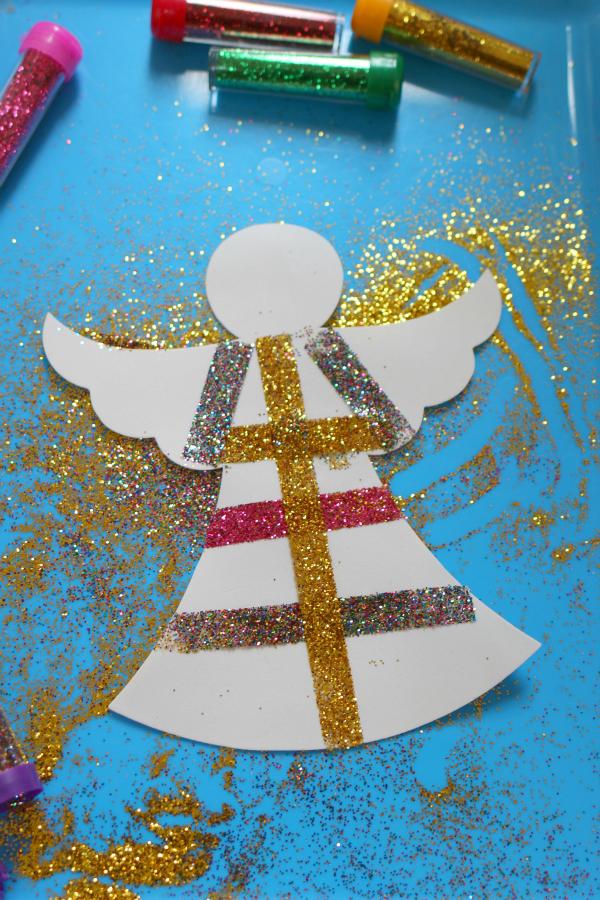 glitter angels easy christmas craft for kids