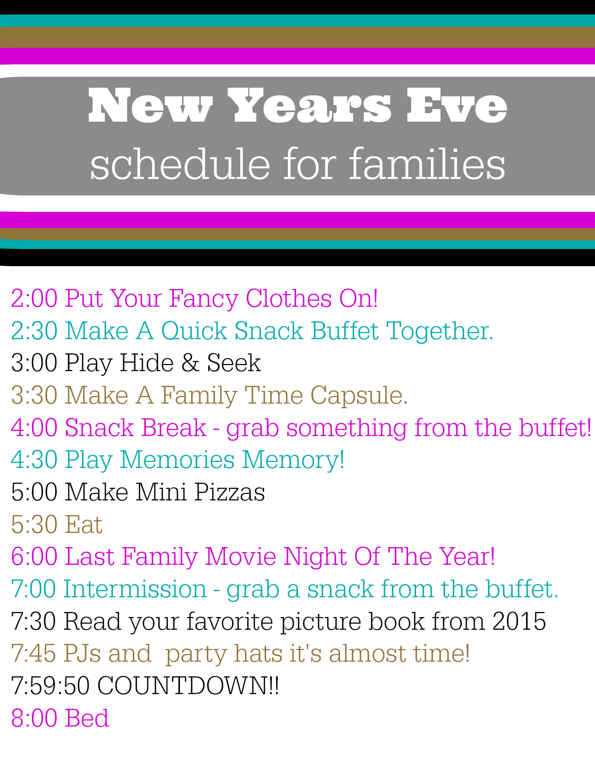New Years Eve Schedule - Free Printable - No Time For Flash Cards