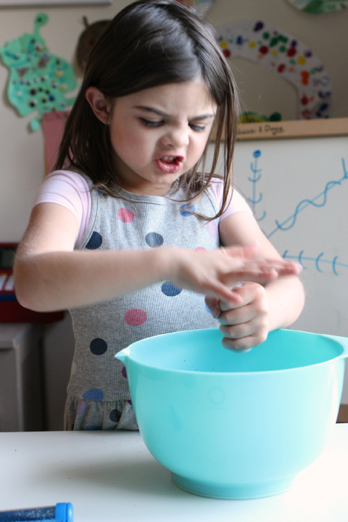 winter slime with glitter for kids