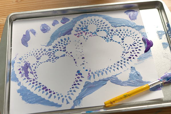 heart doily craft for valentine's day