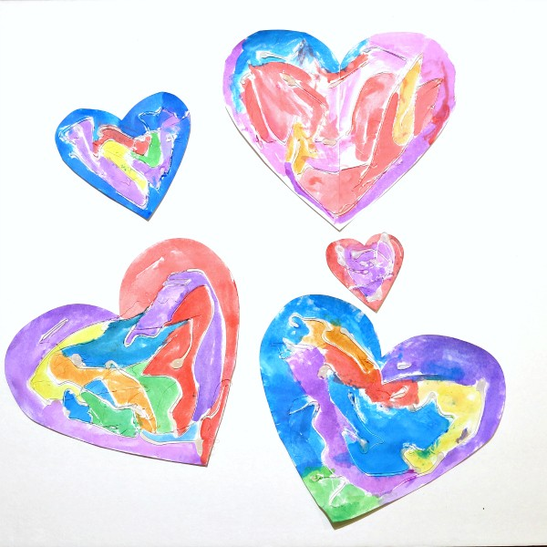 hot glue and water color hearts