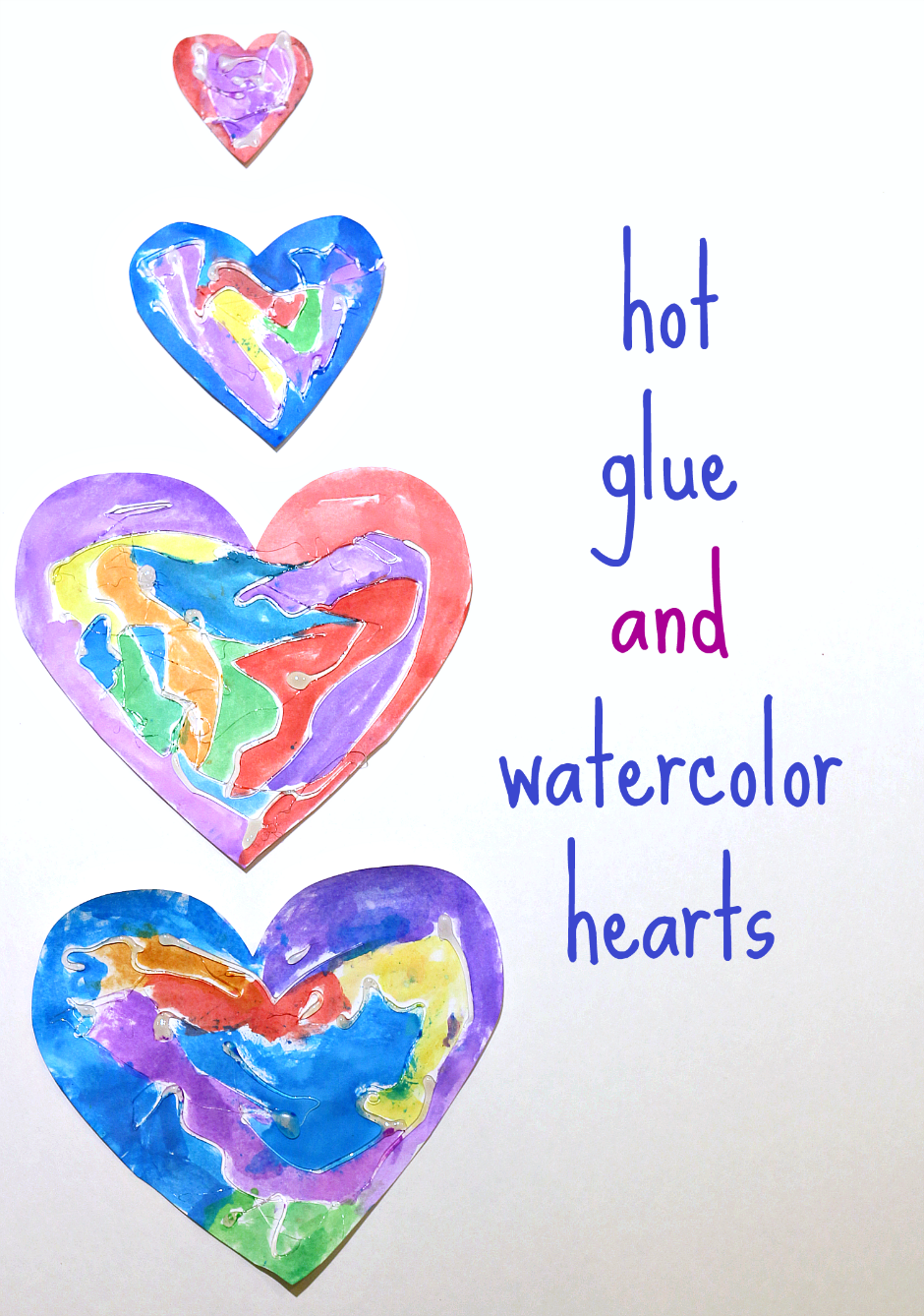 Hot glue watercolor hearts for valentine 39 s day or any for Valentines day art and crafts for preschoolers