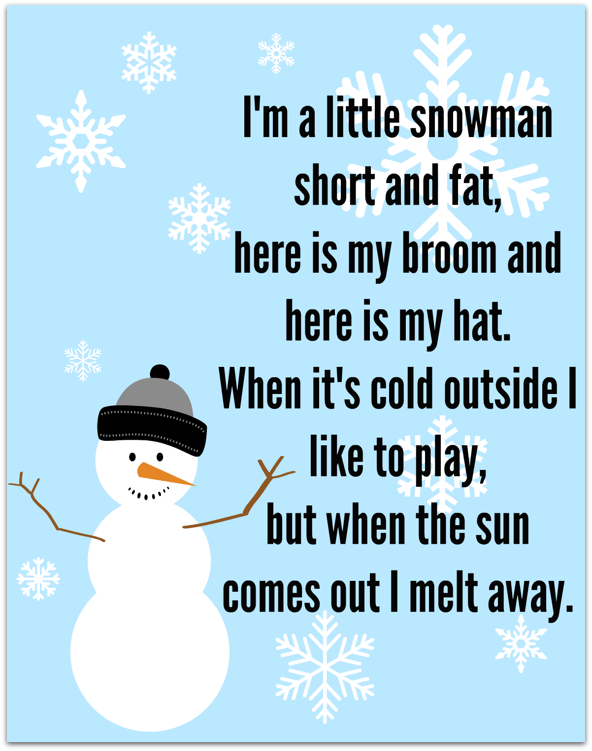 Snowman Song - FREE Printable - No Time For Flash Cards