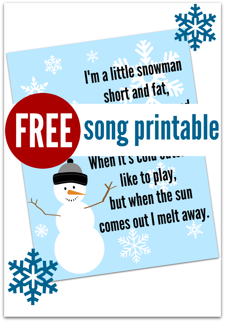 Snowman Song Free Printable No Time For Flash Cards