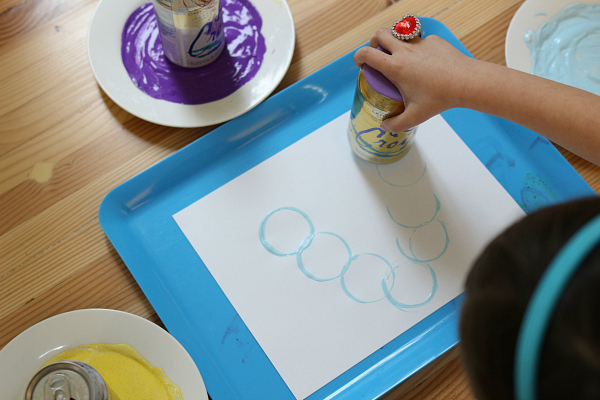 pop can printing easy art project for kids