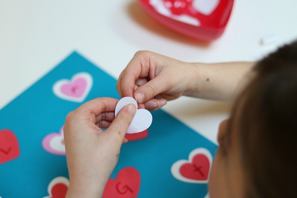 heart sticker letter match no time for flash cards
