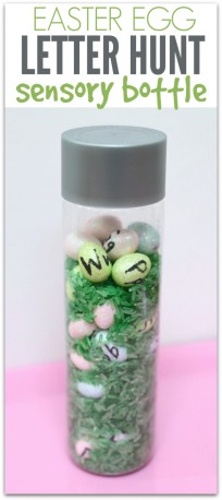 easter egg letter hunt sensory bottle no time for flash cards