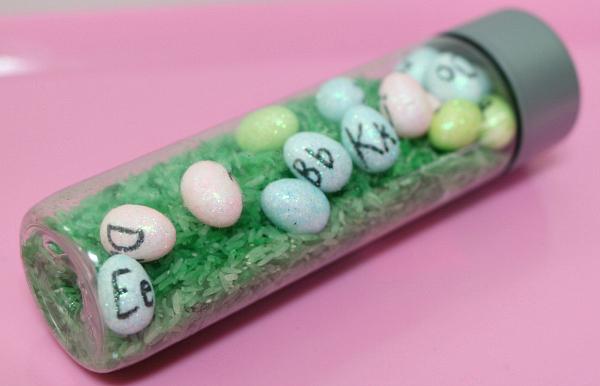easter egg sensory bottle letter hunt no time for flash cards