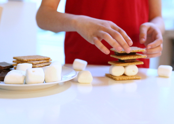 s'mores tower stem activity for kids