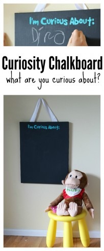 Make a Curiosity Chalkboard to collect thoughts and things to investigate with your kids.  #ad #CuriousGeorgeonHulu