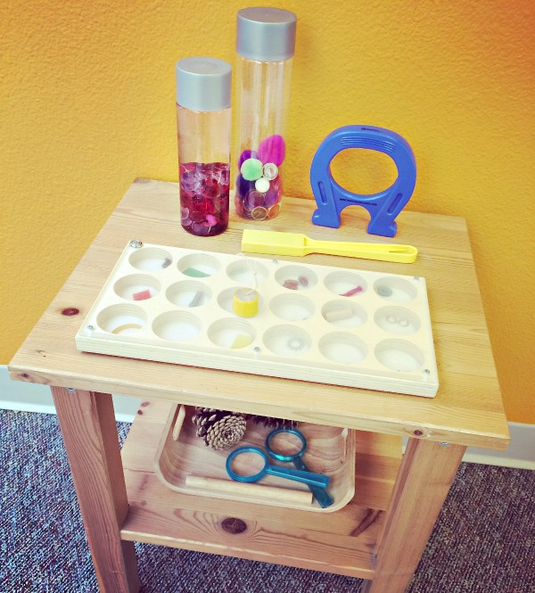 preschool science magnet play