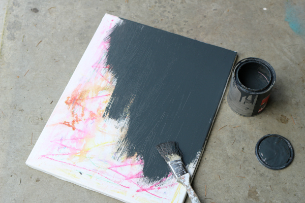 upcycled canvas black board