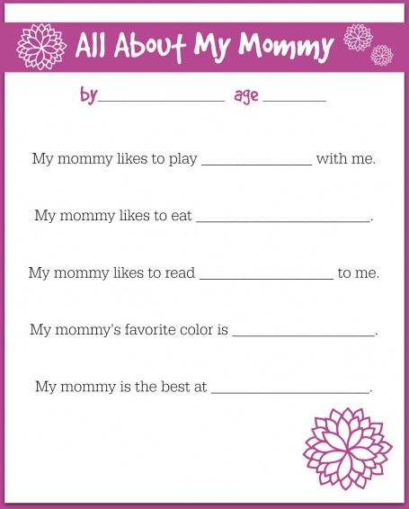 image regarding Free Printable Mother's Day Games for Adults titled Cost-free Printable Moms Working day Job interview For Children - No Period For