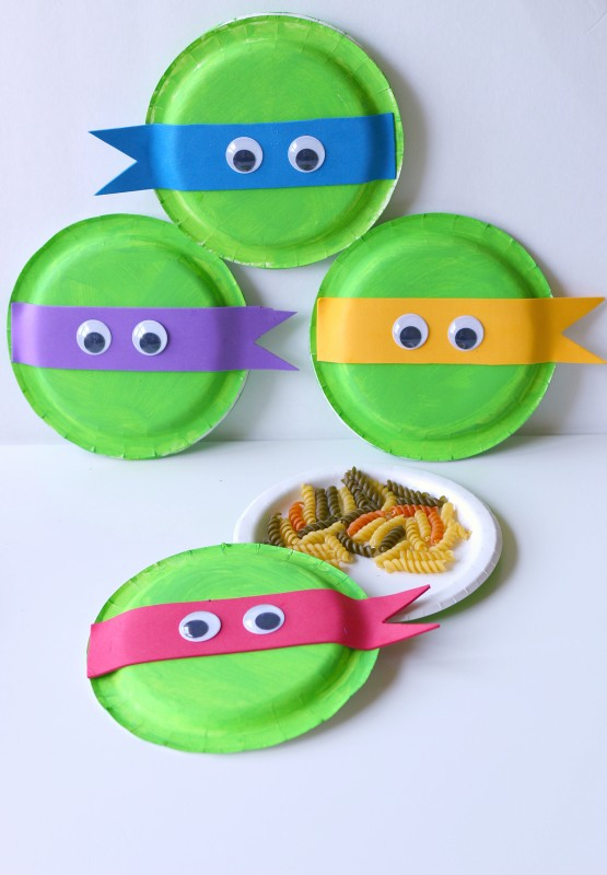 Paper Plate Tambourine Kid Craft Teenage Mutant Ninja Turtles Out of the Shadows in Theaters June 3rd #ad