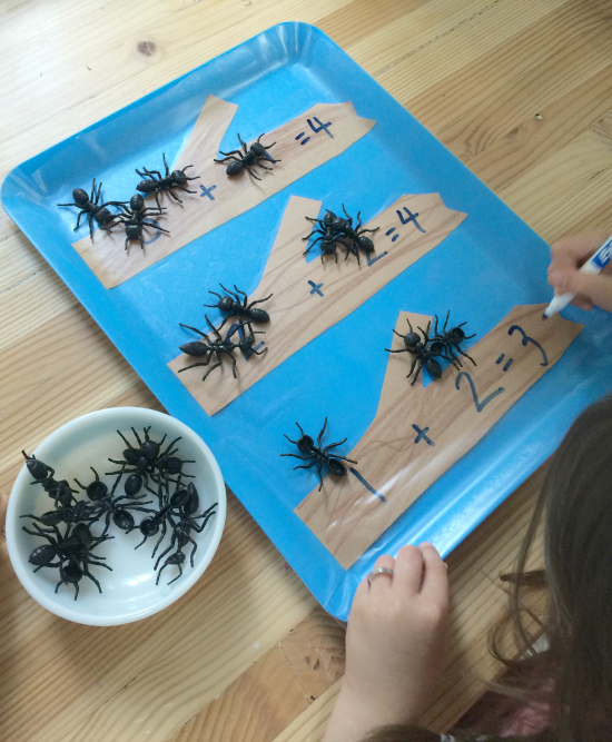ant math tray for kindergarten