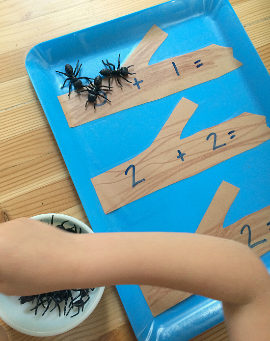 ants on a log math tray for kids