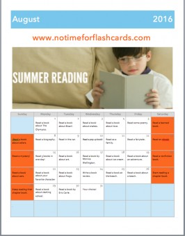 no time for flash cards summer reading calendar