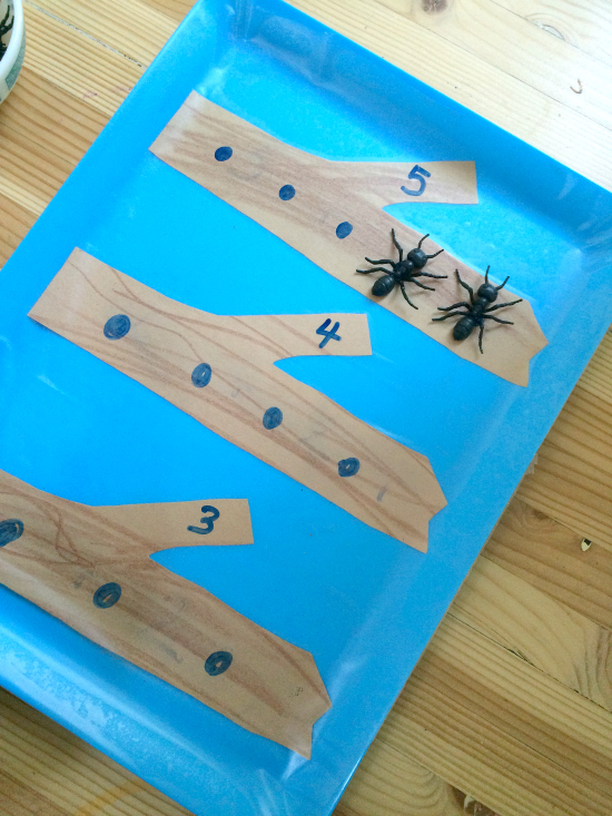 math tray for preschool spring math