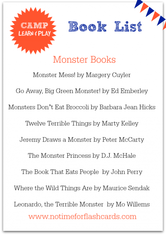 monster book list for kids free printable