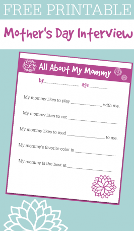 FREE Printable Mother's Day Interview For Kids