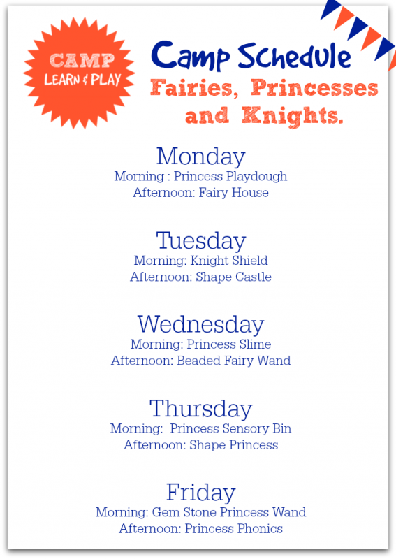 camp learn and play princess week at a glance activities for summer camp