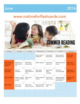 summer reading calendar no time for flash cards