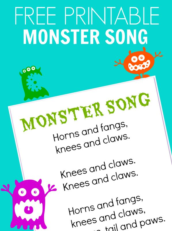 Monster Song - FREE PRINTABLE - No Time For Flash Cards