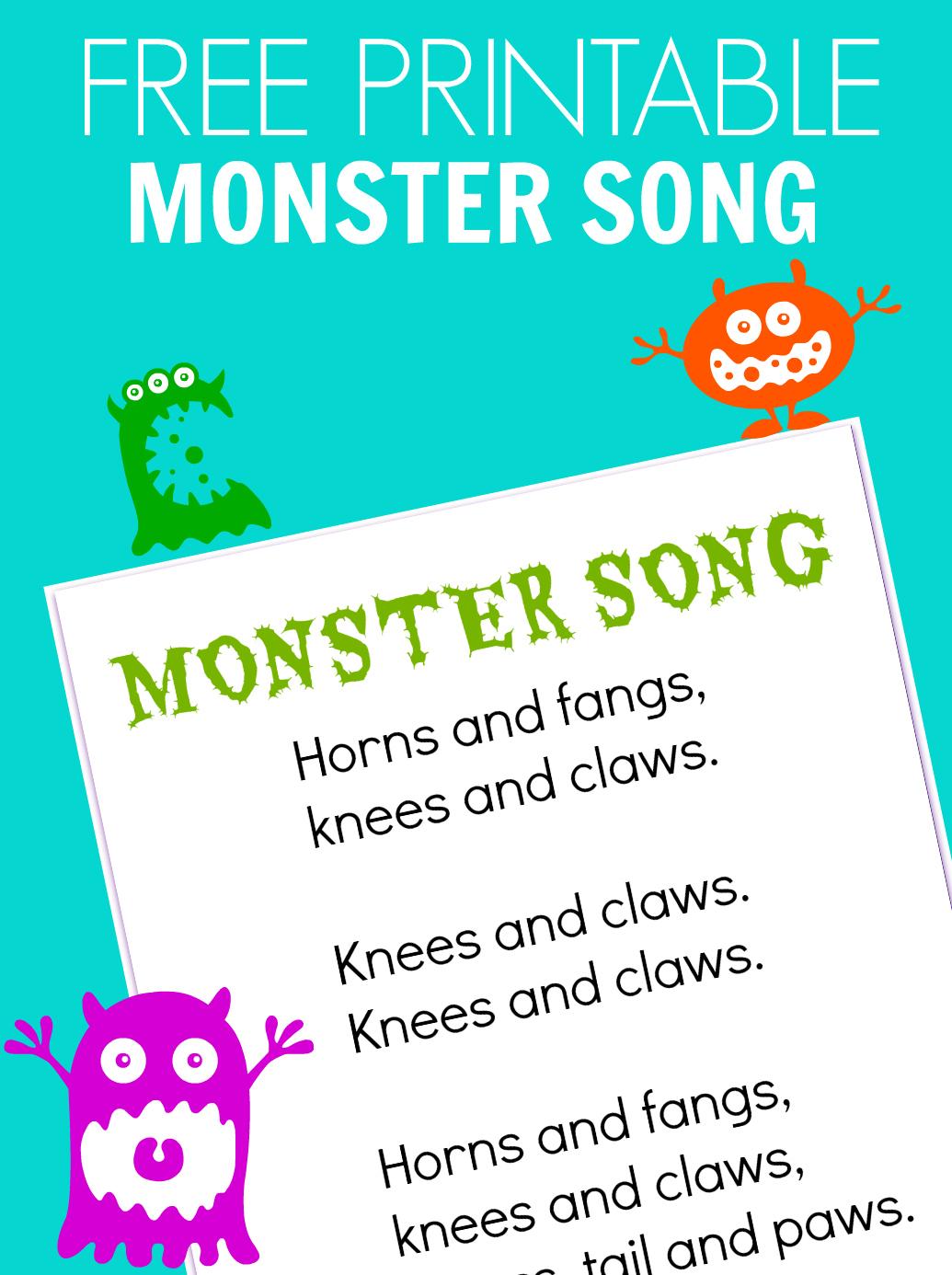 monster song - free printable