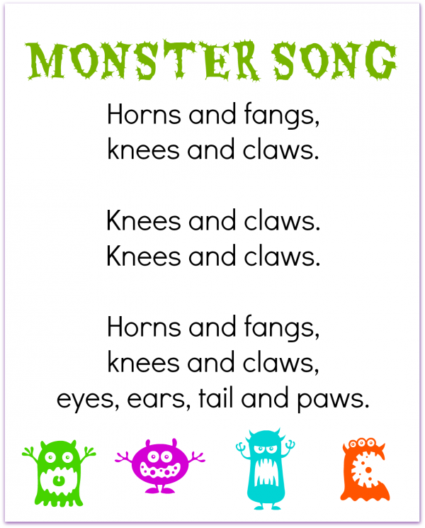 FREE printable monster finger play song for preschool