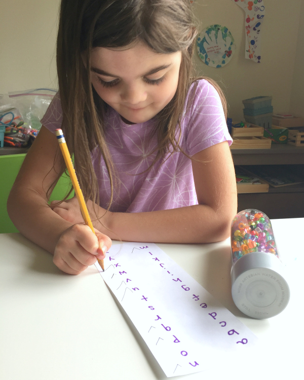 alphabet bead discovery bottle and easy letter matching game