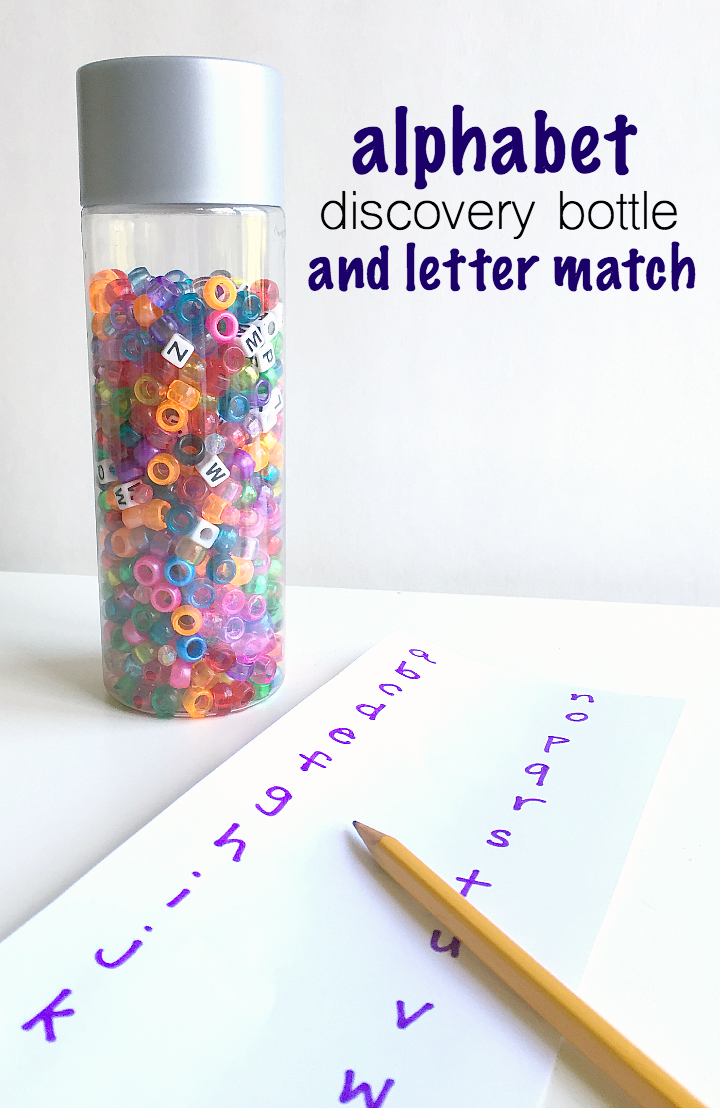 Alphabet discovery bottles - great road trip game for preschool.