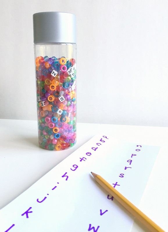 alphabet discovery bottle and letter matching game for preschool from no time for flash cards
