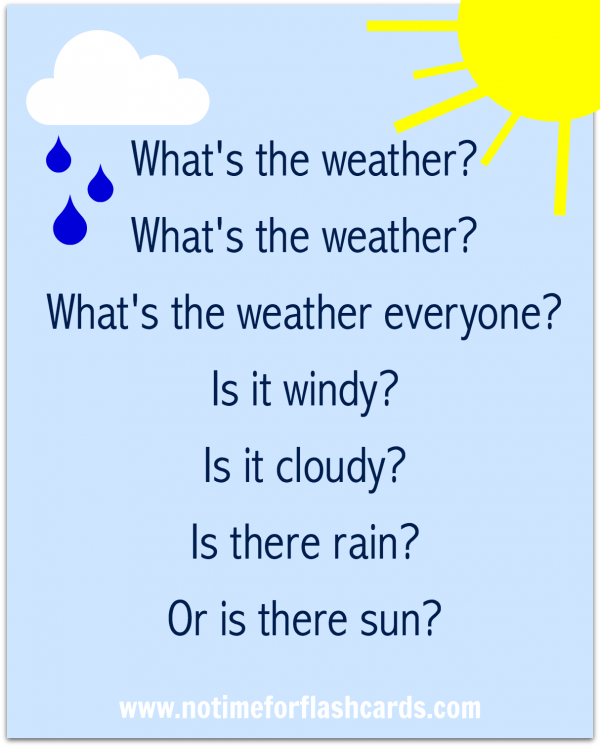 Preschool Weather Song - Free Printable Lyrics - No Time ...