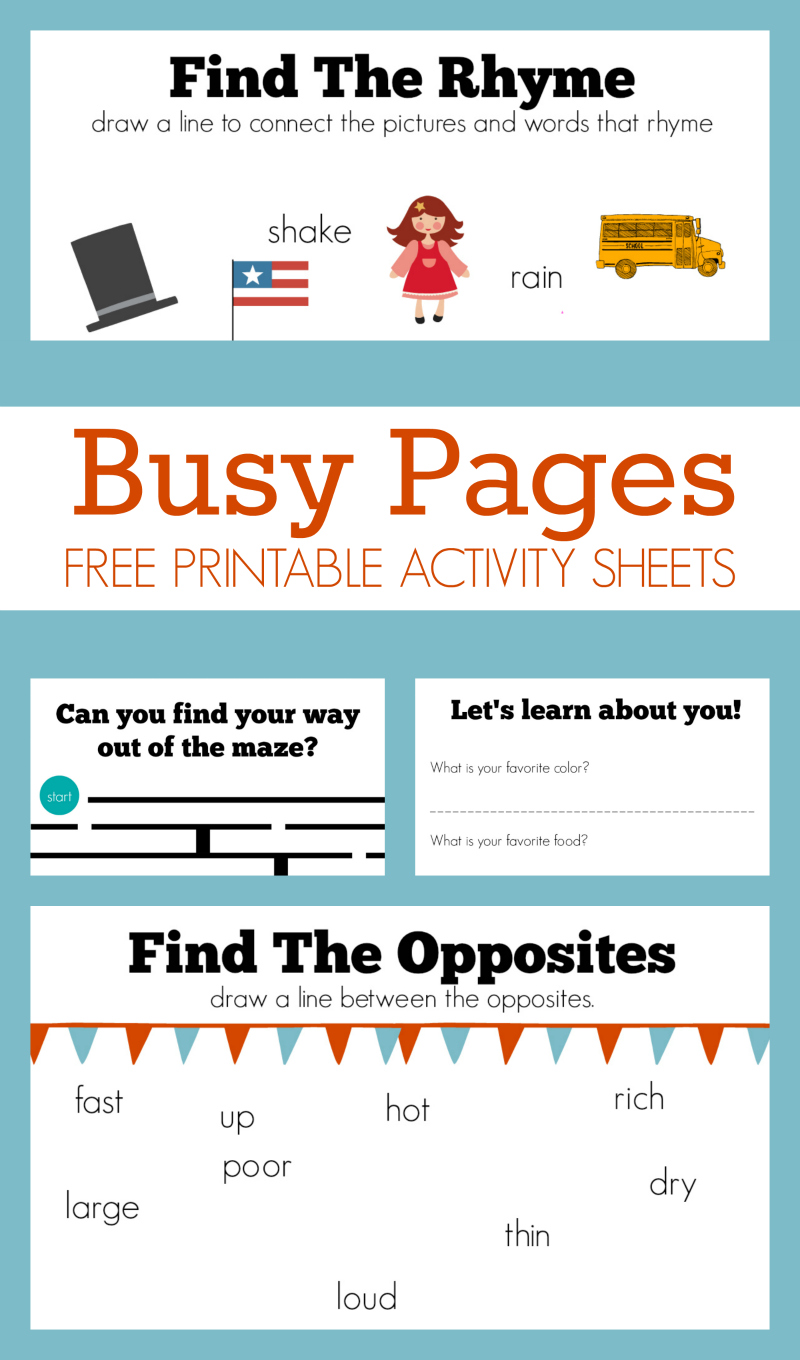 Busy Pages - Free Activity Sheets - No Time For Flash Cards