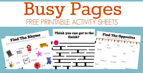 busy pages free printable for kids