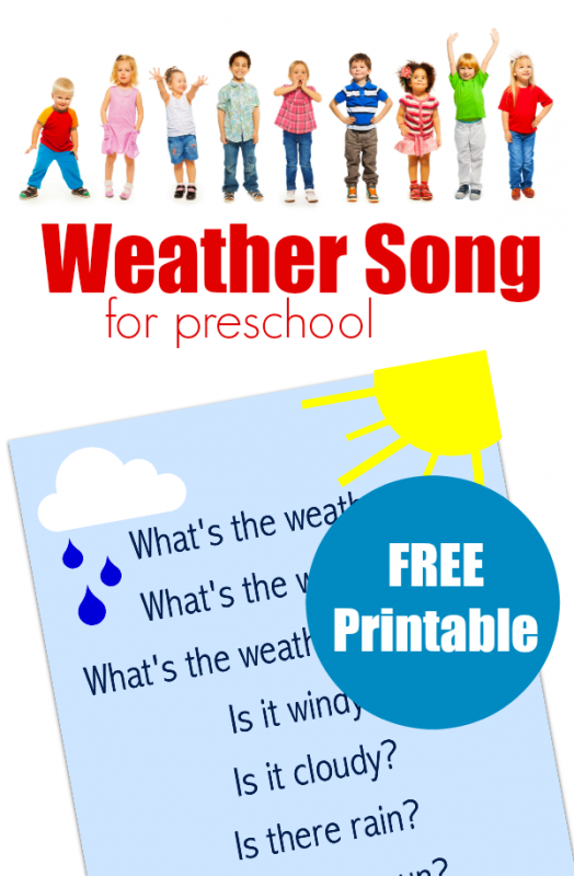 Preschool Weather Song Free Printable Lyrics