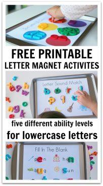 Magnetic letter activities for preschool and kindergarten