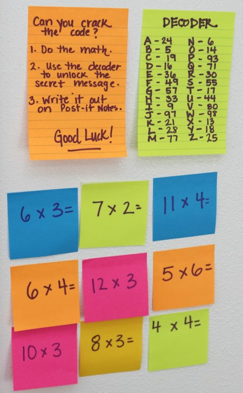 Post-it Notes math activity for kids