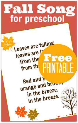 Fall song for preschool with free printable lyrics.