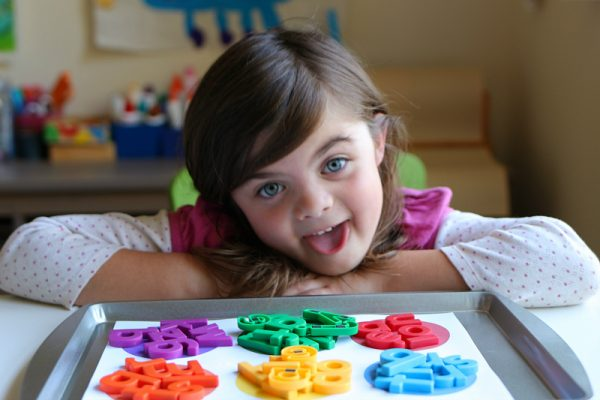 color sorting with letter magnets