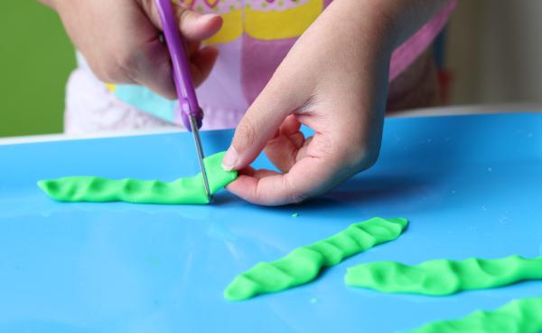 cutting play dough