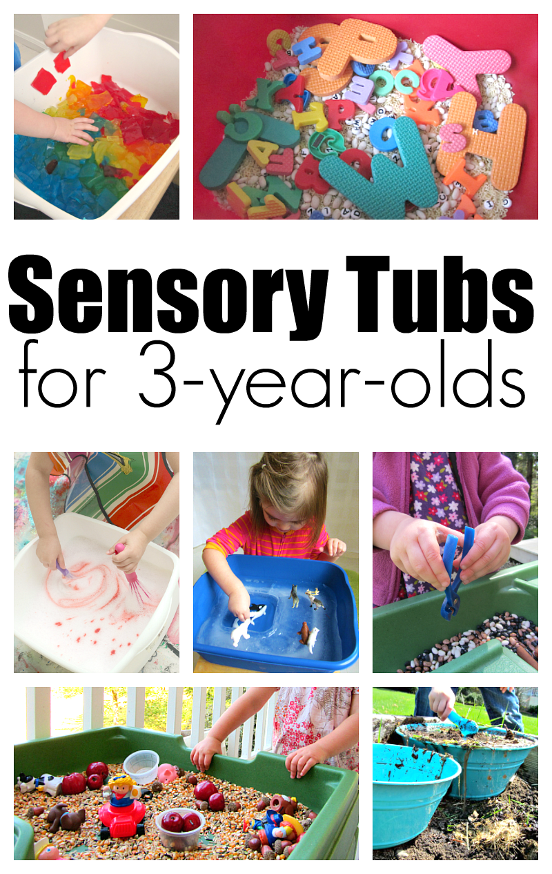 10 Sensory Tubs For 3 year olds - No Time For Flash Cards