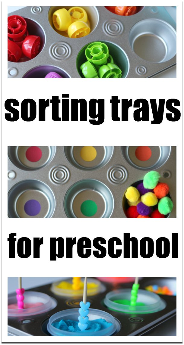 Sorting trays for preschool - perfect for free choice time!