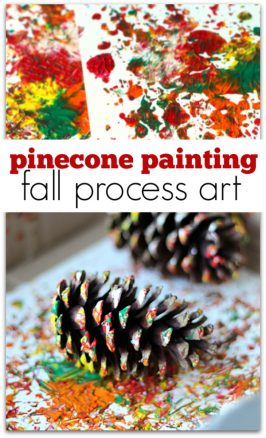 Pinecone painting process art for kids